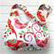 Christmas Bird Fabric Ladies Hobo Handbag Purse in White Pink Red and Green