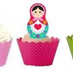 12x EDIBLE wafer  babushka/matryoshka  cupcake toppers