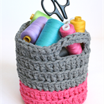 Crochet Basket Pink & Grey - *ready to post*