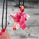 Christmas Button Star Pink - SINGLE - Decoration - Resin - Buttons - Hanging