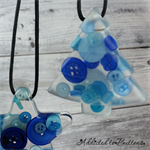 Christmas Button TREE Blue - SINGLE Decoration - Resin - Buttons - Hanging