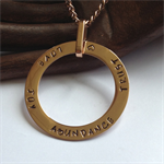 'Amalthea' Hand-stamped Rose Gold washer with matching bail and Chain