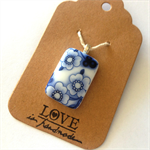 fused glass pendant with blue china decal