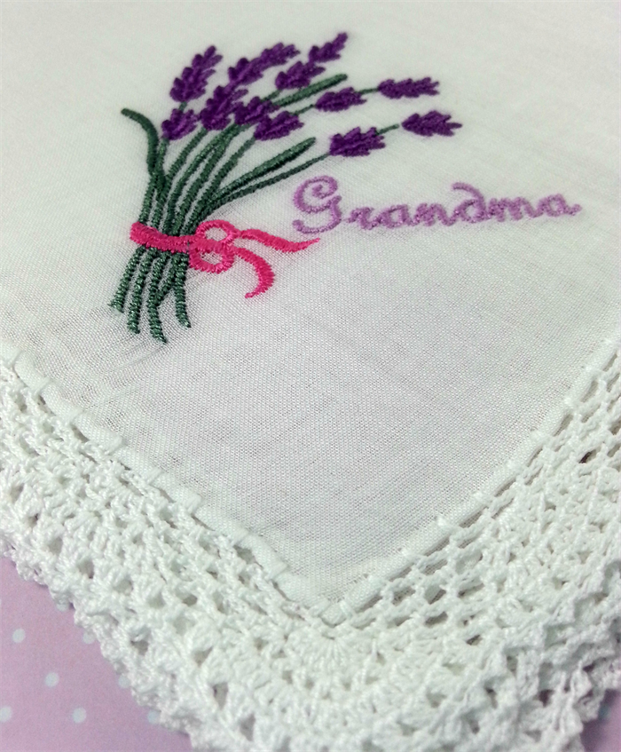 Embroidered Handkerchief, Hanky Gift for Grandma, with Beautiful Lace Edge.
