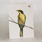 Helmeted Honeyeater greeting card, yellow bird, bee, wildlife drawing
