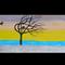 "SUNSET BIRDS Modern landscape abstract painting 18"" x 36"" sunset birds tree"