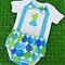 Boy's Blue & Green Polka Dot 1st Birthday Outfit / Cake Smash Set