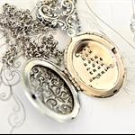 Locket Secret Message Necklace Handstamped Locket Silver Ox Locket Jewelry