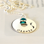 New Mum Necklace Personalised Birth of Child Gift Little Feet Baby Name Necklace
