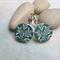 Green Leaf Wood Photo Cut Earrings