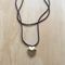 BLACK COLOUR BASICS SILVER HEART LOCKET LONG NECKLACE