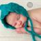Mohair Shell Bonnet / Peaked / Unisex Newborn / Blue Green