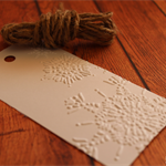 Embossed Christmas Snow Flake Gift Tags - White with Jute