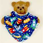 Dribble Bandanna Baby Bib - So Soft Bamboo Toweling, Cotton Spaceship Fabric