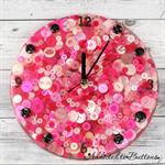 Tick Tock - Hot Pink - Girls / Ladies Resin clock - silent motion