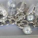 Charm bracelet, silver & white, 3D charms, crown, party, crystals, pearls,