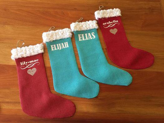 19bb8bb5b8df Personalised Santa faux fur Hessian Christmas Stockings - 100% Hand-made!