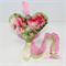 Hairclip Holder : pink green roses with crochet lace and diamante
