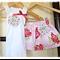 Valentine Rose Skirt with yoyo flower singlet set - size 000-5