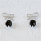 RIBBONS Earrings - Rhodium Plated with Sterling Silver posts & Black Czech Glass