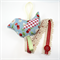 Hairclip Holder : blue strawberries red gingham