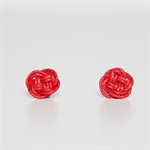 SAILOR Knot Earrings - Red Waxed Cotton knot studs
