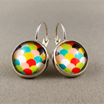Cabochon Drop Earrings - Multi-Coloured Scallop