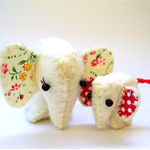 Felt Elephant Family - Mother and Baby tiny soft toys