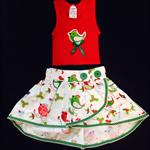 Christmas birds shirt and skirt set