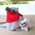 Felt Mouse Miniature with pet dog - doll house tiny softie toys