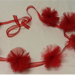 Christmas hanging decoration, garland, red tulle,  red ribbon,