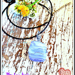 Polished Blue Lace Agate Wire Wrapped Crystal Necklace