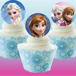 12x EDIBLE wafer  Frozen Elsa & Anna cupcake toppers