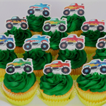 12x EDIBLE wafer  monster trucks cupcake toppers