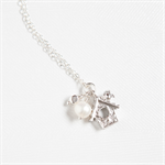 Cuckoo For You Birdhouse Necklace - Sterling Silver chain, Pearl & silver plated