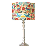 Fabric lampshade drum - medium dove bird multi coloured