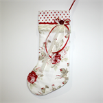 Christmas Stocking : Vintage look red and cream roses with lace