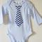 Long Sleeve Blue Onesie Bodysuit with Blue and White Chevron Necktie Applique