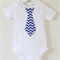 Chevron Blue and White Necktie (or custom design/print) Boys Onesie or T-shirt
