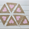 PINK HESSIAN BURLAP BUNTING RUSTIC HEARTS WEDDING BABY SHOWER DECORATION