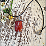 Polished Carnelian Wire Wrapped Crystal Necklace