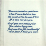 Wedding Hanky, Handkerchief Embroidered from the Bride to the Groom's Mother.