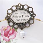 Atticus Finch Brooch Accessories Cameo Snow White Pearl Harper Lee