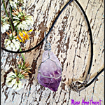 Raw Amethyst Wire Wrapped Crystal Necklace
