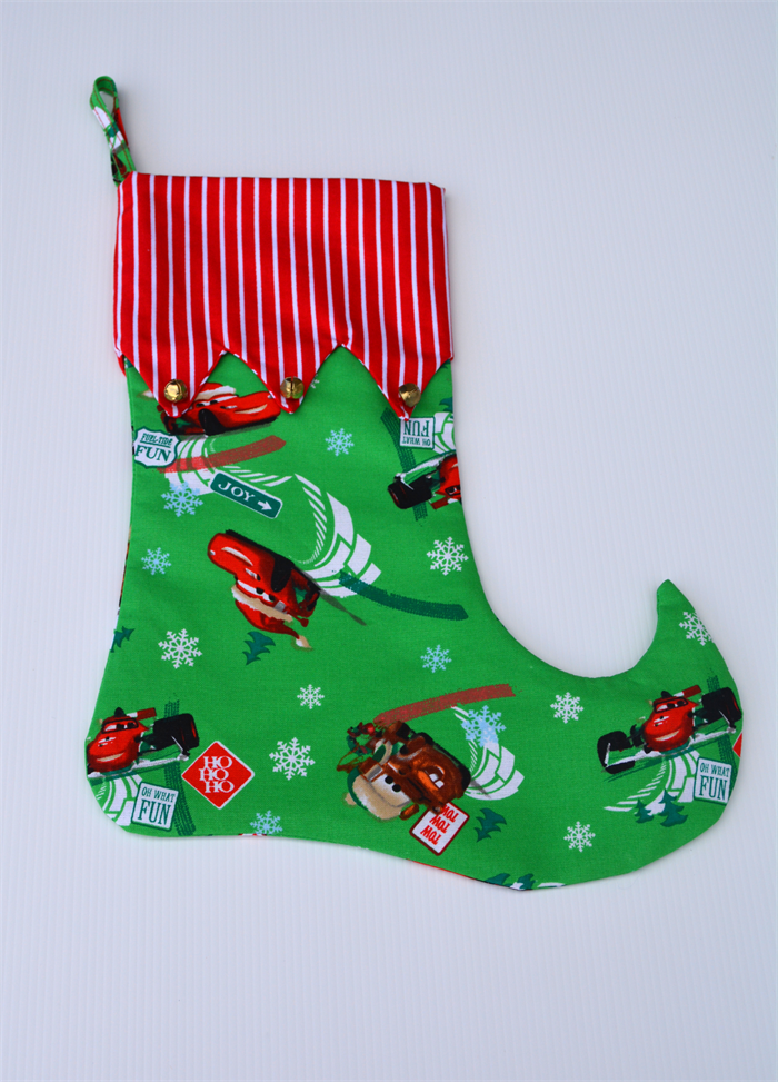 Elf boot christmas stocking xmas quot cars quot fabric w red white stripe