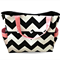 Large Chevron Nappy Bag - Diaper Bag - Black Chevron with Pink
