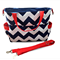 Chevron Nappy Bag with Shoulder Strap & Zipper Closure - Navy Blue and Red