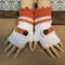 Crochet Fingerless Gloves,Wool Buckle Arm Warmers, White Orange Wrist Gloves