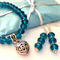 aqua blue glass earrings and bracelet Christmas gift set . With gift tag a wrap