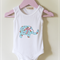 Girls Onesie Bodysuit Blue Floral Elephant Applique  with Pink Ribbon detail